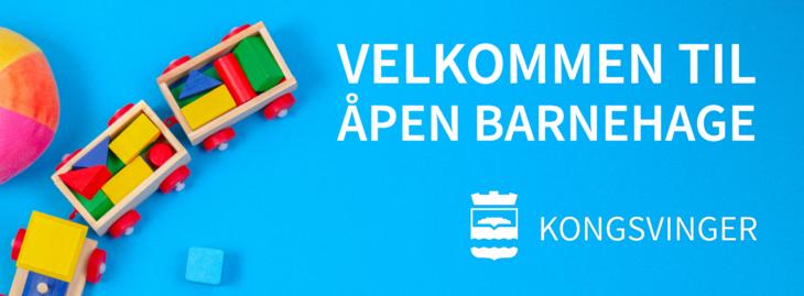 """Bilde med noen leker som det står """"Velkommen til åpen barnehage"""". I tillegg til kommunal byvåpen-logo"""