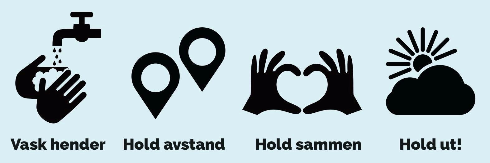 Illustrasjonsbilde Vask hendene, hold avstand, hold sammen og hold ut.