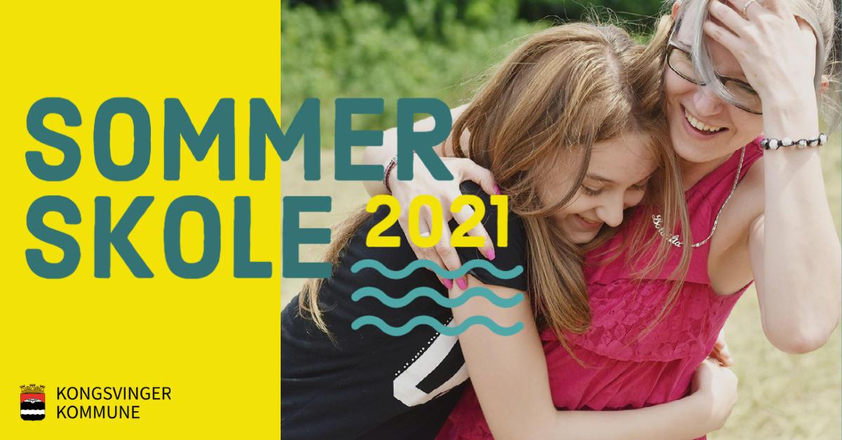 Sommerskolelogo, med bilde av to jenter som klemmer hverandre.